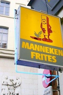 Manneken Frites restaurant sign in Brussels, Belgium (@kmtwanderlust photo/May 6, 2011)