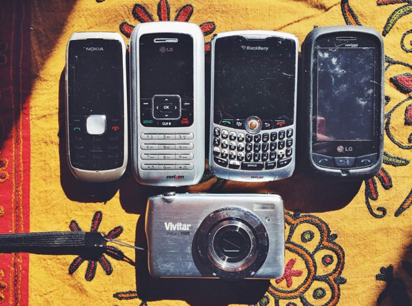 All my phones (and digital camera *chuckles*) from college.